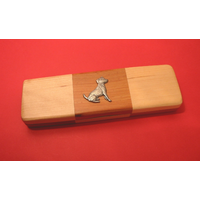 Jack Russell on Wooden Pen Box with 2 Pens
