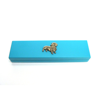 Dachshund Motif on Turquoise Wooden Pen Box with 2 Pens