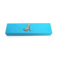 Jack Russell Motif on Turquoise Wooden Pen Box with 2 Pens