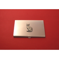 Short Haired Cat Chrome Plated Business or Credit Card Holder