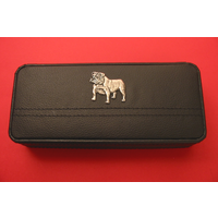 English Bulldog Motif on Black Faux Leather Pen Box With 2 Pens
