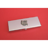 Long Haired Chihuahua Pewter Motif on Seven Day Pill Box Gift