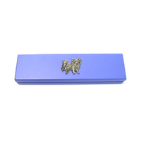 Papillon Dog Motif on Violet Blue Wooden Pen Box with 2 Pens