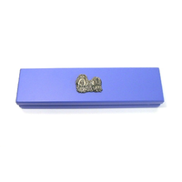 Shih Tzu Dog Motif on Violet Blue Wooden Pen Box with 2 Pens