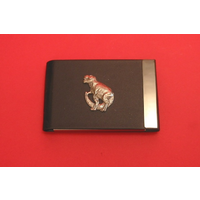 Dinosaur T Rex Pewter Motif on Black Card Holder