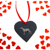 Greyhound Design Slate Heart Valentine Christmas Gift