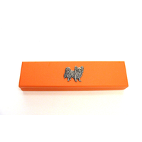 Papillon Dog Motif on Apricot Wooden Pen Box with 2 Pens
