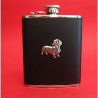 Dachshund Dog 6oz Black Leather Hip Flask