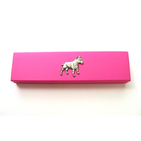 English Bull Terrier Motif on Pink Wooden Pen Box with 2 Pens