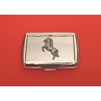 Rearing Horse on Polished Stainless Steel Tobacco Tin