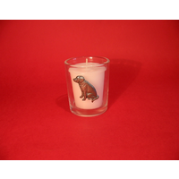 Labrador Retriever Motif On Glass Votive Candle Holder Xmas Gift