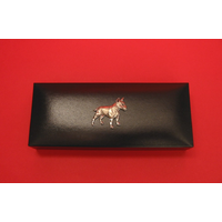 English Bull Terrier Motif on Bridge Pen Set in Black Gift Box