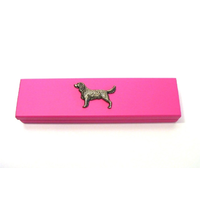 Springer Spaniel Motif on Pink Wooden Pen Box with 2 Pens