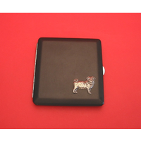 Pug Motif on Black Faux Leather Cigarette Case