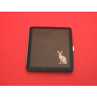 Short Haired Cat Motif on Black Faux Leather Cigarette Case
