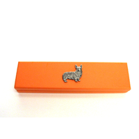 Corgi Dog Motif on Apricot Wooden Pen Box with 2 Pens