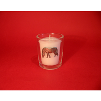 Grazing Pony Motif On Glass Votive Candle Holder Xmas Gift