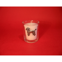 Poodle Motif On Glass Votive Candle Holder Xmas Gift