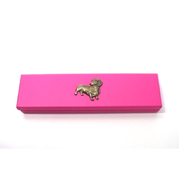 Dachshund Motif on Pink Wooden Pen Box with 2 Pens