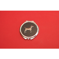 Patterdale Terrier on Black Round Compact Mirror Useful Gift