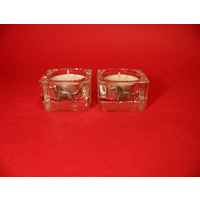 Springer Spaniel Motif On Square Glass Tea Light Holders Gift