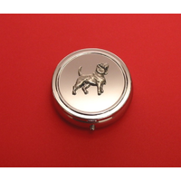 Beagle Pewter Motif On Round Chrome Mint / Pill Box