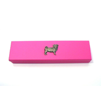 Pug Dog Motif on Pink Wooden Pen Box with 2 Pens