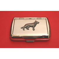 German Shepherd Motif on Polished Stainless Steel Tobacco Tin