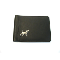 Beagle Design Real Leather Black Passport Holder Gents Gift