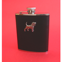 Beagle Dog 6oz Black Leather Hip Flask