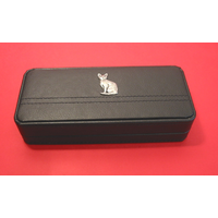 Short Haired Cat Motif on Black Faux Leather Pen Box With 2 Pens