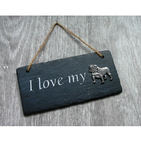 English Bulldog Design Slate Plaque Valentine Xmas Gift