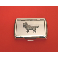 Golden Retriever Motif on Polished Stainless Steel Tobacco Tin