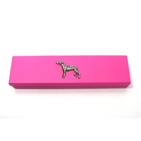 Greyhound Motif on Pink Wooden Pen Box with 2 Pens