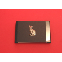 Short Haired Cat Pewter Motif on Black Card Holder