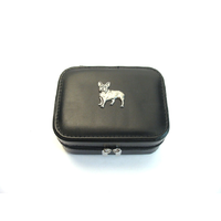 French Bulldog Design Small Black Travel Jewellery Box