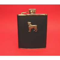 Boxer Dog 6oz Black Leather Hip Flask Dog Gift