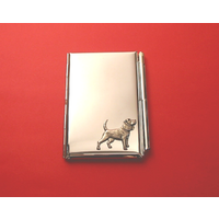 Beagle Motif Chrome Notebook & Pen Card Holder Dog Gift