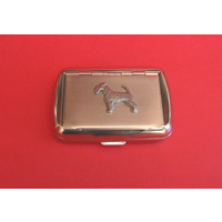 Airdale Terrier Motif on Polished Stainless Steel Tobacco Tin
