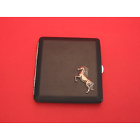 Rearing Horse Motif on Black Faux Leather Cigarette Case