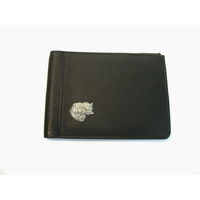 Long Haired Cat Design Real Leather Black Passport Holder