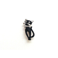 Black Cat Austrian Crystal Brooch Cat Enthusiast Gift