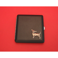 Chihuahua Motif on Black Faux Leather Cigarette Case