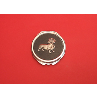 Dachshund on Black Round Compact Mirror