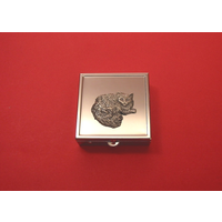 Long Haired Cat Motif On Sq. Mint / Pill Box With Vanity Mirror