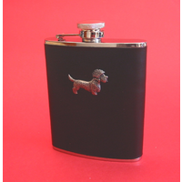 Dandie Dinmont 6oz Black Leather Hip Flask Dog Gift