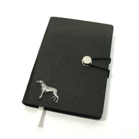 Greyhound Dog A6 Black Journal Notebook Dog Gift