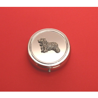Cocker Spaniel Pewter Motif On Round Chrome Mint / Pill Box