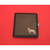 King Charles Spaniel Motif on Black Faux Leather Cigarette Case