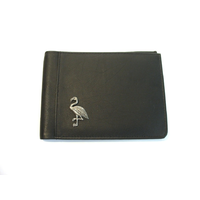 Flamingo Design Real Leather Black Passport Holder Gents Gift